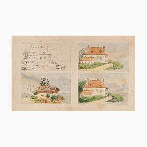 E. Laport - la maison - Lithographie originale sur papier - 1860