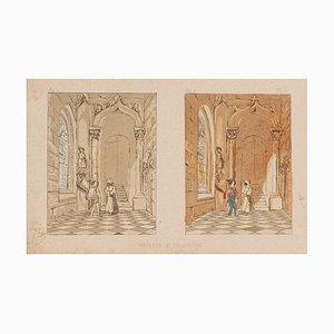E. Laport - le couloir - Lithographie originale sur papier - 1860