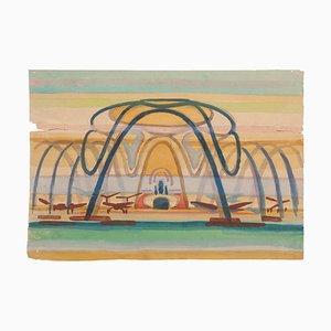 Jean Delpech - the Airport - Aquarelle Originale sur Papier - Milieu 20ème Siècle