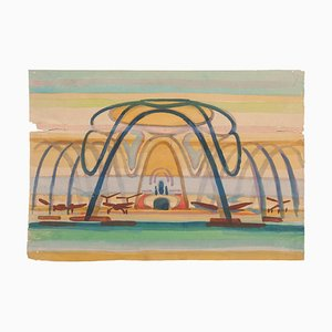 Jean Delpech - the Airport - Original Aquarell auf Papier - Mitte 20. Jahrhundert