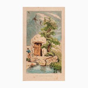 E. Laport - Canopy Puit à Montmartre - Originale Lithographie auf Papier - 1860