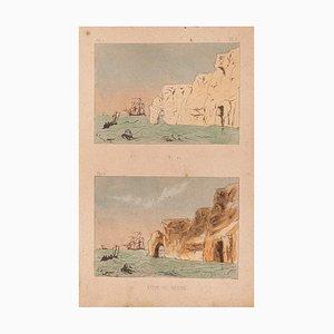 E. Laport - Landscape - Litografia originale su carta - 1860