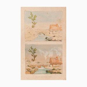 E. Türen, Landschaft, Lithographie auf Papier, 1860