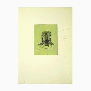Danilo Bergamo, Der Stuhl, Radierung auf Karton, 1975