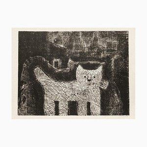 Gianpaolo Berto, Die Katze, Radierung auf Karton, 1974