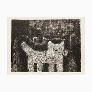 Gianpaolo Berto, The Cat, Etching on Cardboard, 1974