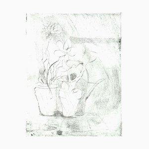 Vaso Danilo, fiori, incisione su cartone, anni '80