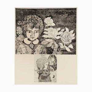 Gianpaolo Berto, Komposition von Figuren, Radierung auf Papier, 1974