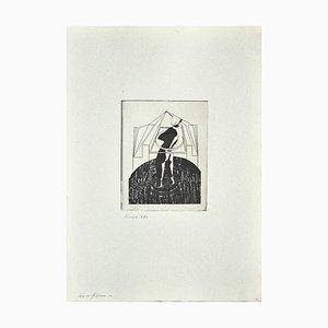 Danilo Bergamo, Figur, Radierung auf Karton, 1970er