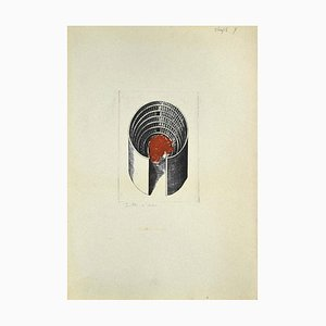 Danilo Bergamo, Composition, Radierung auf Karton, 1980er