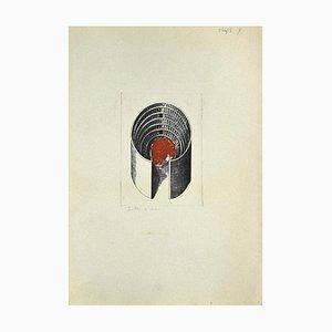 Danilo Bergamo, Komposition, Radierung auf Karton, 1980er Jahre