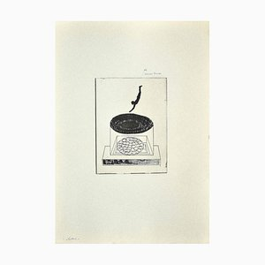 Danilo Bergamo, Der Taucher, Radierung auf Karton, 1970er Jahre