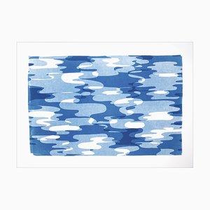 Reflejos geométricos del agua en movimiento, transparencias geométricas azules y blancas 2021
