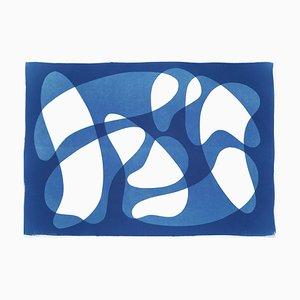 Tonos y sombras azules de vanguardia, formas abstractas sobre blanco, elegante monotipo 2021
