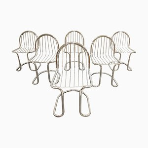 Vintage Chrome Cantilever Dining Chairs, 1970s, Set of 6
