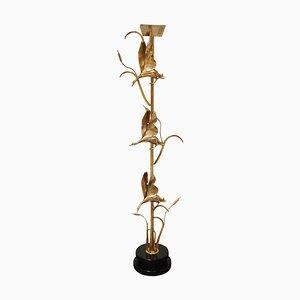 Lampada da terra a forma di airone in ottone di L. Galeotti per Loriginale, anni '70