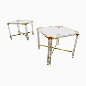 Vintage Lucite and Brass Side Tables by Charles Hollis Jones, 1970s, Set of 2