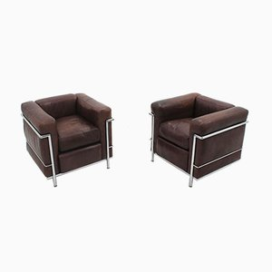 Vintage LC2 Leather Armchairs by Cassina, 1970s, Set of 2