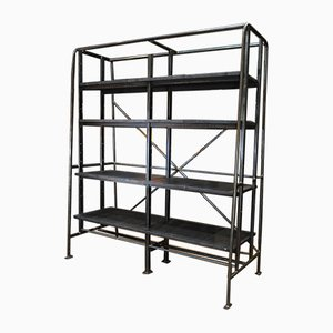 Metal and Oak Industrial Shelf, 1950s