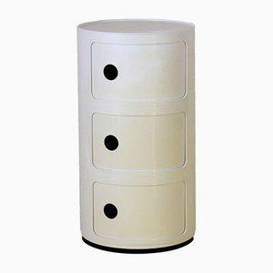 Commode à Tiroirs en Plastique Blanc par Anna Castelli Ferrieri pour Kartell, Italie, 1977