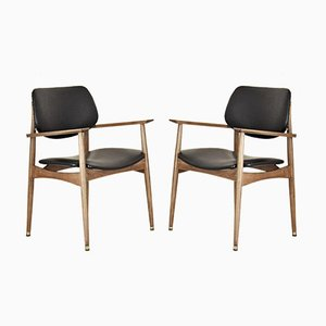 Beech and Leather Armchairs, 1950s, Set of 2