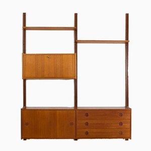 Conjunto de pared escandinavo de teca con aparador y mueble bar, años 60