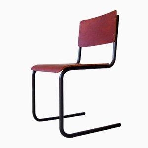 Chaise de Bureau Industrielle en Contreplaqué et Métal, 1950s