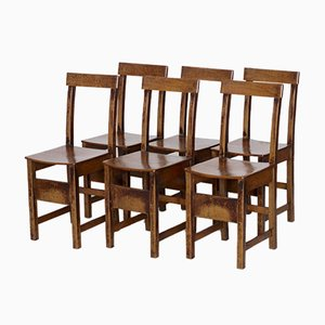 Oak Dining Chairs, 1920s, Set of 6