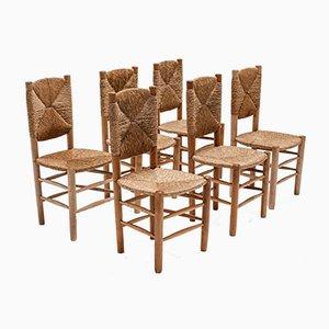 Chaises de Salle à Manger Mid-Century par Charlotte Perriand, Set de 6