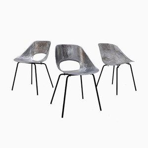 Chaises Mid-Century en Aluminium par Pierre Guariche, Set de 3