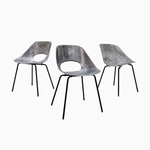 Mid-Century Aluminum Chairs by Pierre Guariche, Set of 3