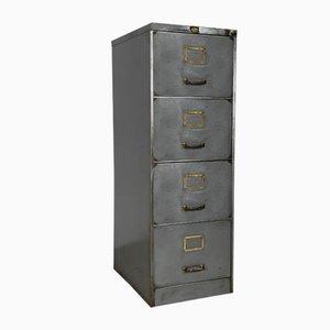 Meuble d'Archivage Vintage en Acier Poli avec Poignées en Laiton, 1960s