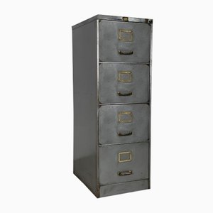 Vintage Polished Steel Filing Cabinet with Brass Handles, 1960s
