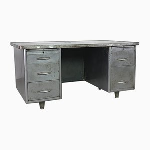 Vintage Industrial Steel Double Pedestal Desk