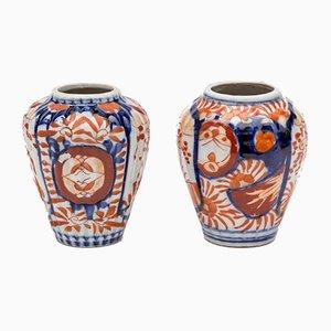 Japanische Imari Vasen aus Porzellan, 2er Set