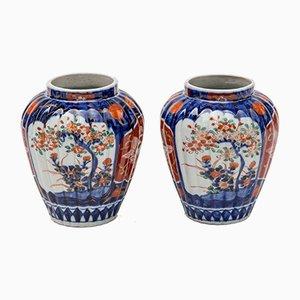 Antike japanische Imari Vasen aus Porzellan, 2er Set