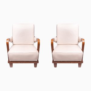 Art Deco Leather Armchairs, 1930s, Set of 2