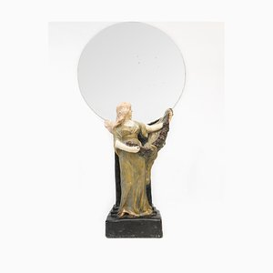 Art Nouveau Mirror with Statue of a Woman