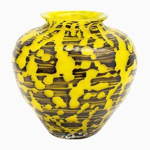 Salamander Yellow Black Glass Vase