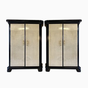 Italian Parchment and Brass Wardrobes, 1930s, Set of 2