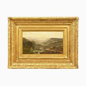 Landschaft mit Hirten und Kühen, 19. Jahrhundert, Ölgemälde auf Papier