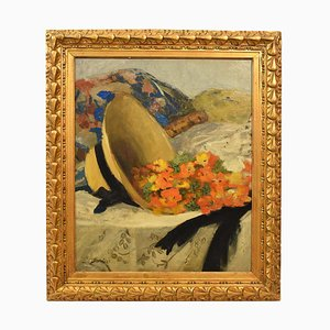 Straw Hat and Flowers Painting, Oil on Canvas, 20th Century