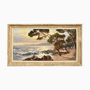 Paesaggio marino, inizio XX secolo, olio su tela