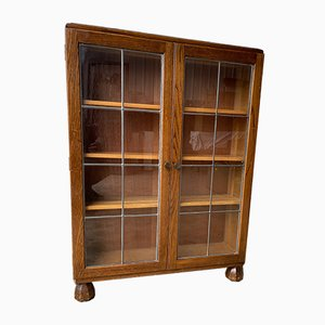 Antique Oak Glazed and Leaded Bookcase