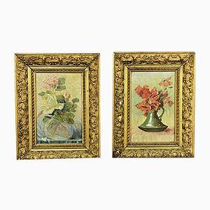 G. Chuliot, fiori morti, inizio XX secolo, olio su tavola, set di 2