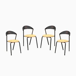 Italian Round Beech and Metal Dining Chairs from Fly Line, 1980s, Set of 4