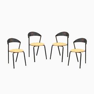 Runde italienische Esszimmerstühle aus Buche & Metall von Fly Line, 1980er, 4er Set