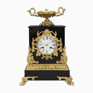 French Rococo Style Black Slate and Bronze Gilt Mantel Clock by Japy Freres, 1880s