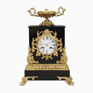Horloge de Cheminée de Style Rococo en Ardoise Noire et Bronze Doré par Japy Freres, 1880s