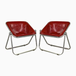 Red Leather Plona Armchairs by Giancarlo Piretti for Castelli / Anonima Castelli, 1970s, Set of 2